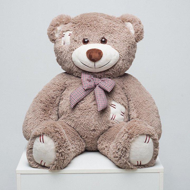 Мягкая игрушка Мистер Медведь с латками 100 см. Капучино. - 1/4