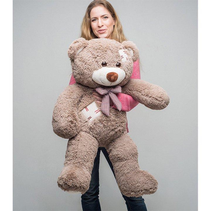 Мягкая игрушка Мистер Медведь с латками 100 см. Капучино. - 2/4