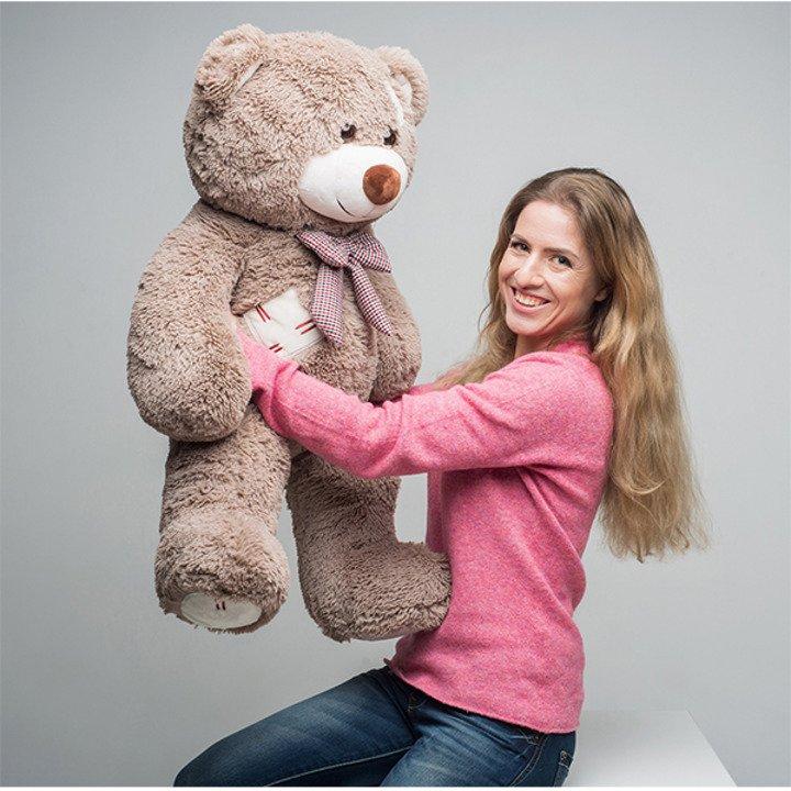 Мягкая игрушка Мистер Медведь с латками 100 см. Капучино. - 3/4
