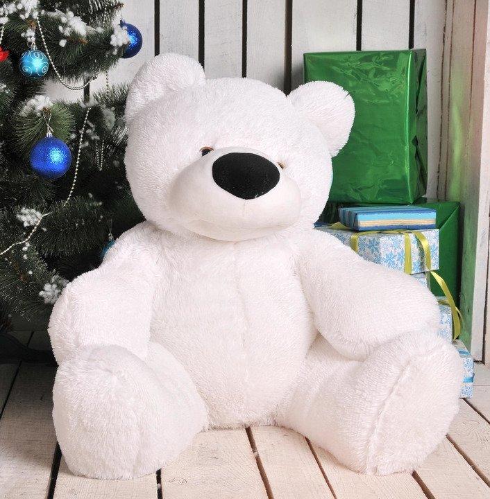 Мягкая игрушка медведь сидячий «Бублик» 70 см. Белый - 3/3